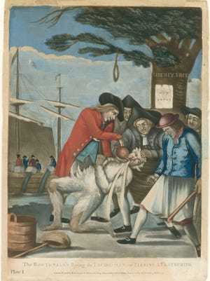 """The secret society of American patriots called """"Sons of Liberty"""" who advocated revolution were seen by Loyalists as thuggish, lawless, and violent. This 1774 British illustration depicts Bostonians tarring and feathering a Loyalist tax collector and pouring tea down his throat."""