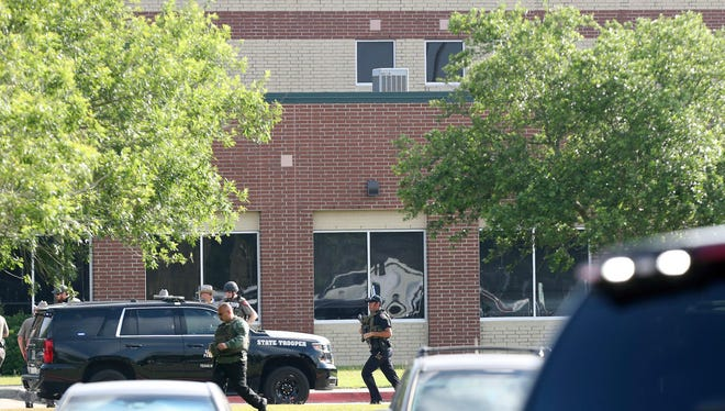 Law enforcement officers at Santa Fe High School on May 18, 2018.