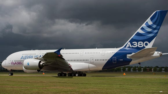 An Airbus A380 taxis before taking a flight demonstration