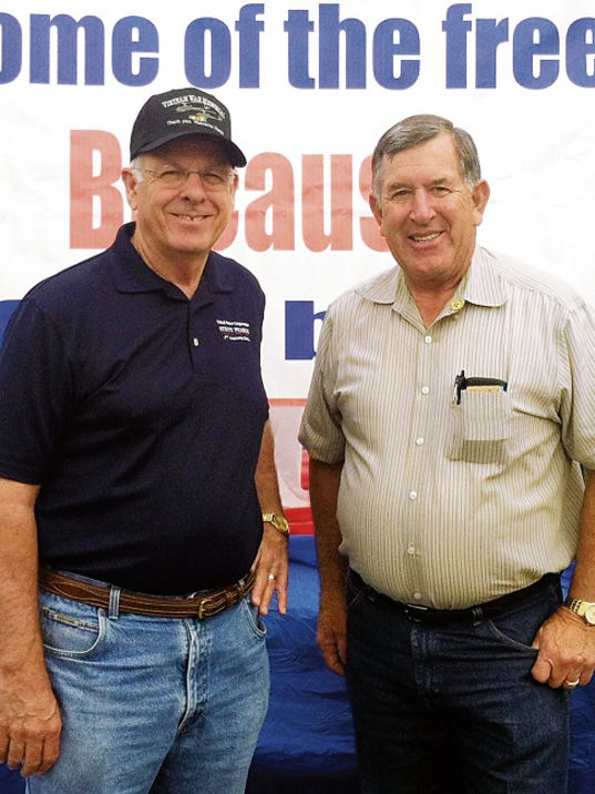 U.S. Congressman Steve Pearce, R-NM, left, visits with State Rep. John Zimmerman, R-Las Cruces, before the Fourth of July Parade in Silver City on Saturday. Sunshine Stevens - Sun-News