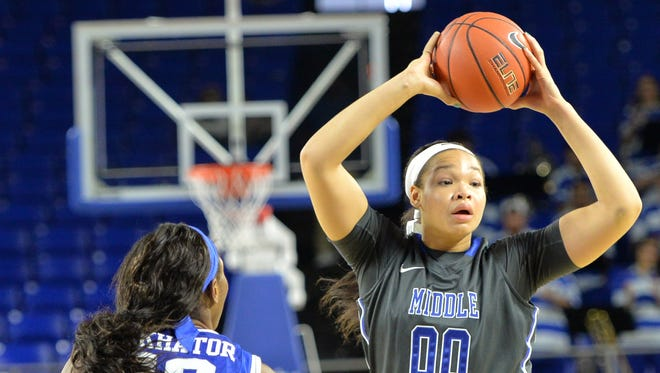 MTSU's Alex Johnson (00) scored a career high 29 points in the win over UAB. Johnson and the Lady Raiders play Western Kentucky next.
