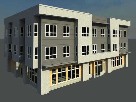 The three-story building at Pine and Placer will feature
