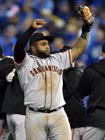 Sandoval celebrates after defeating the Kansas City