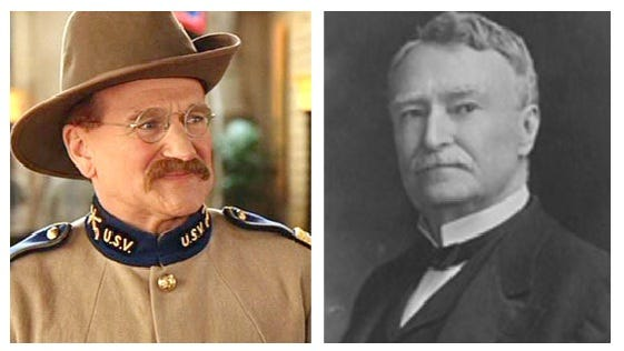 Actor Robin Williams, left, and 1896-1900 Mississippi Gov. Anselm McLaurin