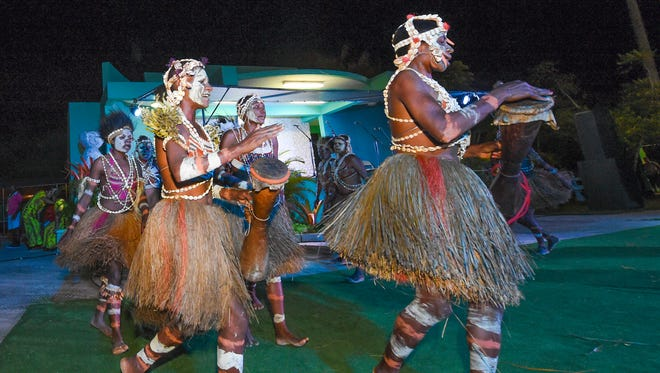 The Papua New Guinea dance group perform at Agat Sagan Bisita in Agat on May 31.