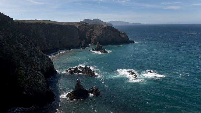 Waves crash along the east end of Anacapa Island.