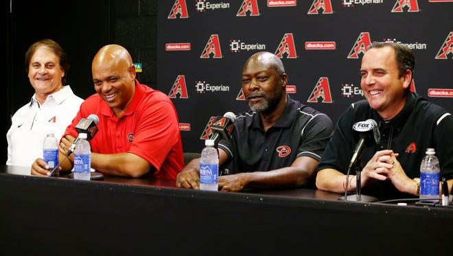 Dave Stewart is the Arizona Diamondbacks' new GM, but he'll work closely with club president Tony La Russa, new assistant GM De Jon Watson and CEO Derrick Hall.