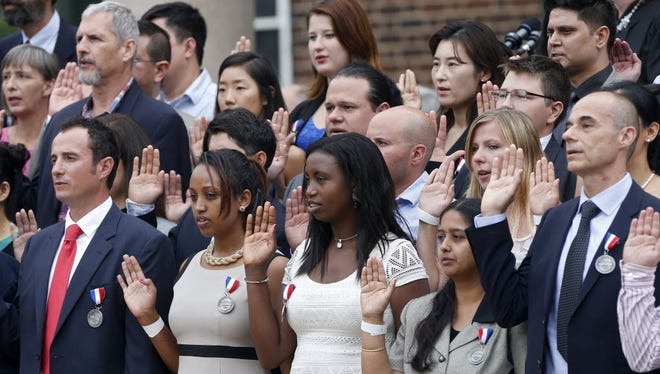 Naturalization ceremony at Thomas Jefferson's Monticello in Charlottesville, Va., on July 4, 2015.