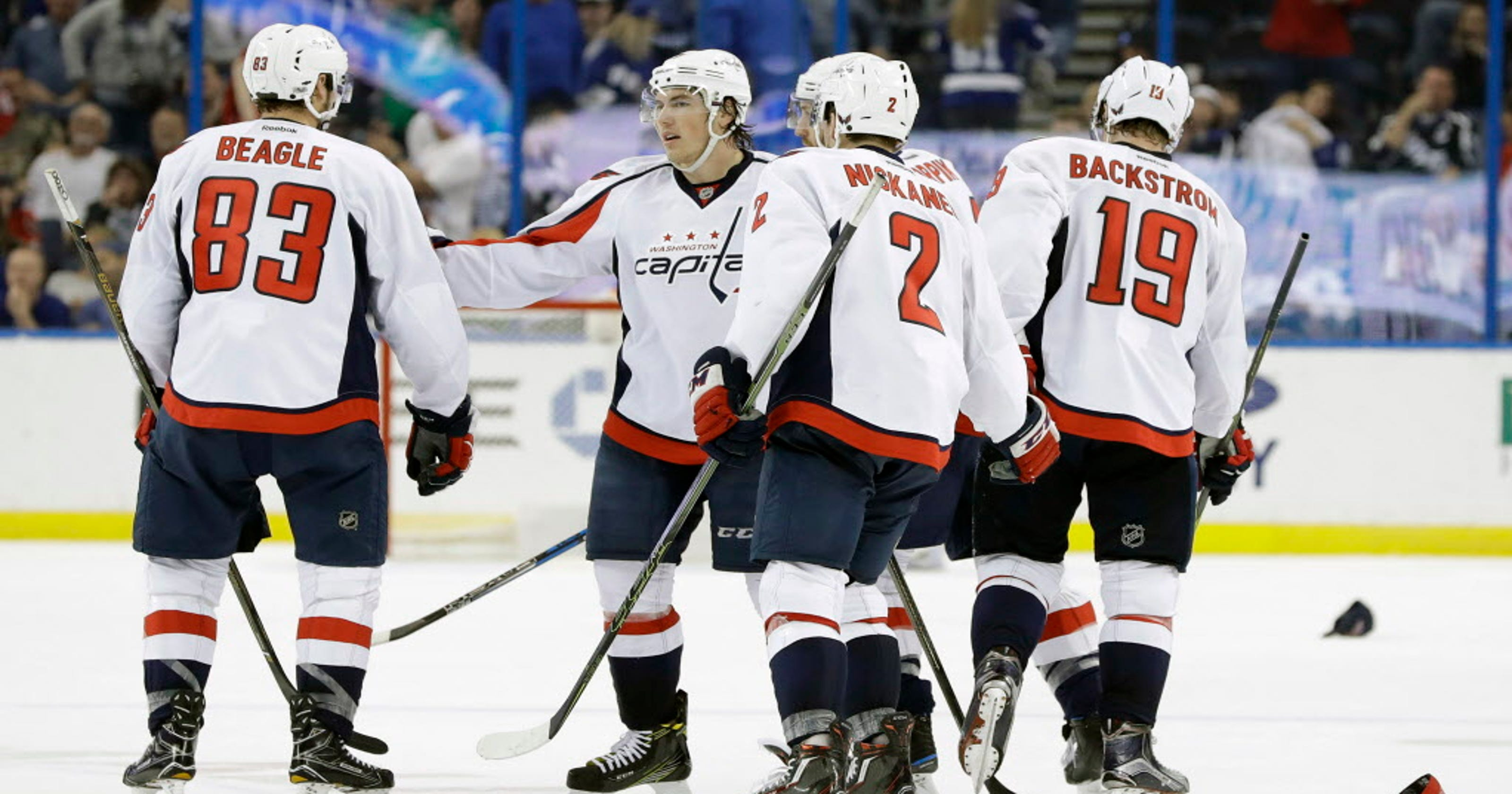 7cd8a60c1a0 T.J. Oshie s hat trick helps Capitals become NHL s first playoff team