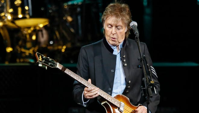 Sir Paul McCartney performs in concert during his One on One tour at Hollywood Casino Amphitheatre on July 26, 2017 in Tinley Park, Illinois.