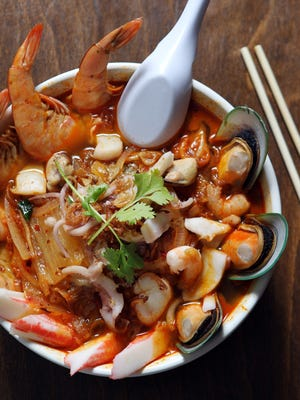 Spicy seafood kimchi ramen from Huit Asian BBQ.