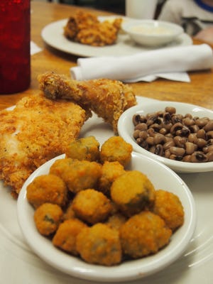 Meat-and-two with skillet-fried chicken, black-eyed peas and fried okra.