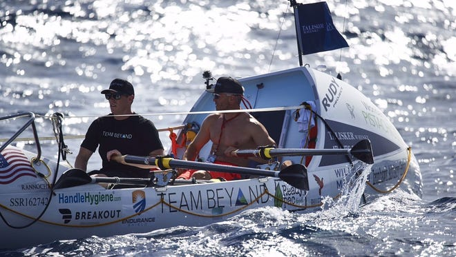 Brentwood resident Phil Theodore and Daley Ervin train off the coast of La Gomera in the Canary Islands. Both men will row across the Atlantic Ocean during the Talisker Whisky Atlantic Challenge.