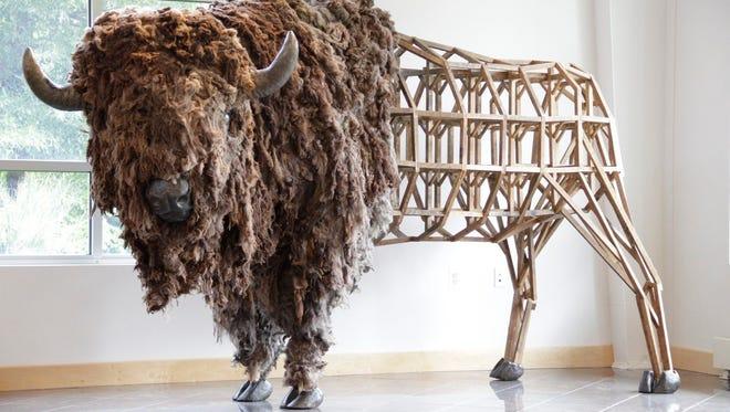 A bison sculpture for the 2016 Philadelphia Flower Show by Philadelphia-based artist Emily White.