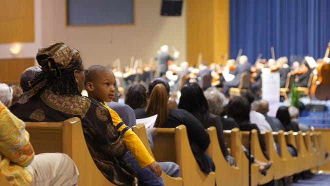 The Detroit Symphony Orchestra performing a free community concert at Greater Grace Temple in Detroit