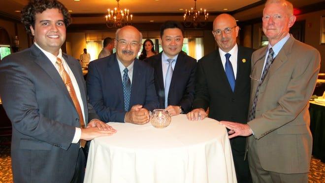 Dr. Frank  Farokhi, Dr. Franko Servadei, Dr. Yin Mao, Dr. Edgardo Spagnuolo, Dr. Don Smith at Neurosurgery reception..