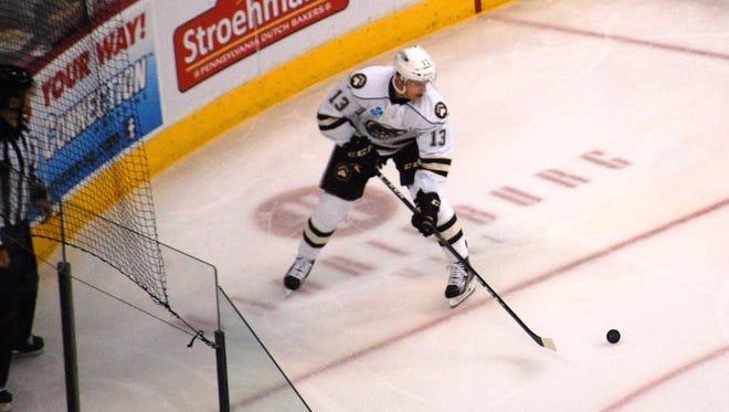 Jakub Vrana scored two goals to lead the Hershey Bears in a 7-2 win over the Binghamton Senators Saturday at Giant Center.