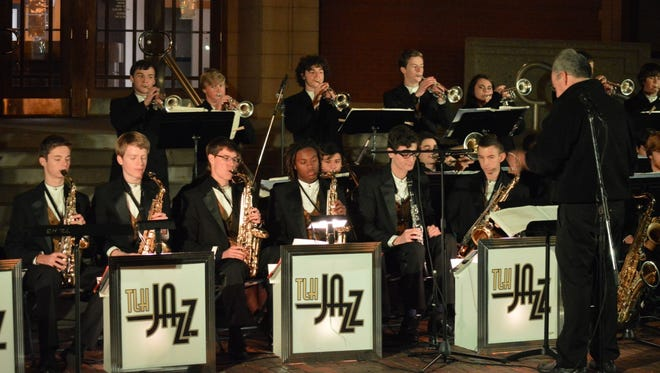 Shown is the T.L. Hanna High School Jazz Ensemble with director Richard C. Baskin, at right front.