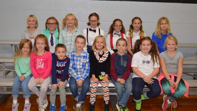 Niagara Elementary's October leaders of the month are, front row from left: Morgan Bowley, Avery Mackey, Landon White, Jackson Parker, Kylie Woods, Jeremiah Totten, Amber Mullis and Abigail Gentry. Back row: Hailey Moore, Mary Claire Forker, Riley Baskett, Bailey Moore, Ava Jenkins, Grace Bumgardner, Isaac Krampe.