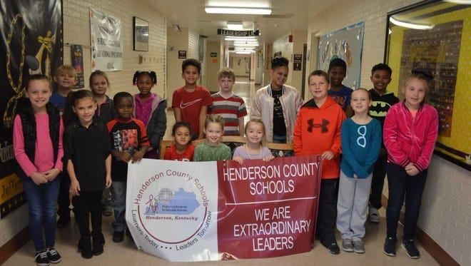 Jefferson Elementary's October leaders of the month were, front row left to right: Kayleigh Gibson, Kenslie Frankum-Gregory, Kemarian Wallace, Keyonna Smith, Natalie Morton, Isabella Lanham, Weston Evans, Sophia Evans and Sage Fulkerson. Back row:  Grant Wall, Lilly Birscoe, Kayleya Joseph, Canaan Nunn, Isaiah Stiltner, Maliyah Cosby, Anthony Williams and Anthony Burris. Not pictured: A. J. Hovenstine. Maliyah Cosby was selected as Leader of the Month for September 2017