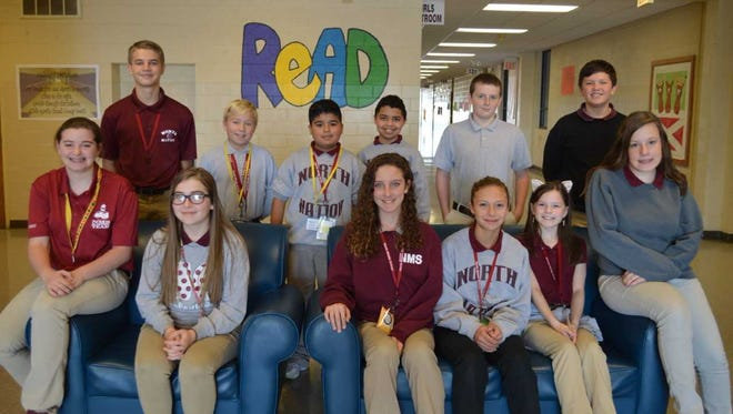 North Middle School's October students of the month were front row left to right: Chasity Bryant, Lindsey Forbes, Alyssa Shelton, Brooke Taylor, Chloe Chandler and Autumn Johnson. Back row: Travis Kellen, Carter Siewers, Damian Ruiz, Isaac Dixon, Zevin Melton-Rickard and Breck Bender