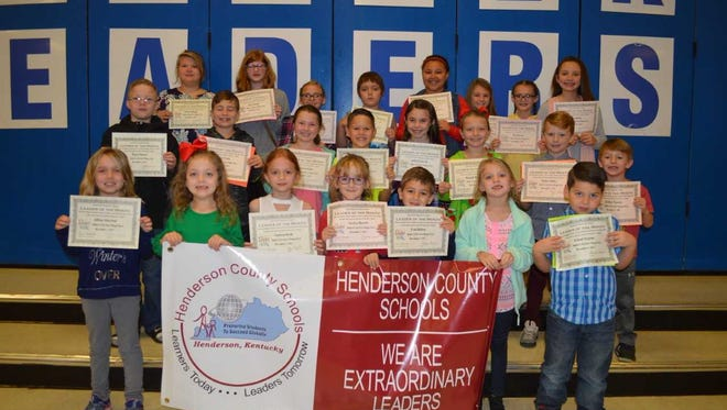 Spottsville Elementary's November leaders of the month were, front row from left: Lillian Atherton, Eliza Bockting, Vanessa Boyd, Carolyn Bassett, Evan Dalton, Harper Miliken and Leland Negron. 2nd row: Pierce Brown, Gavin Wolfe, Cameron Davis, Cole Lucas, Bella Estabrook, Hannah McCracken, Kaiden Johns and Korbyn Watson. Back row: Sarah Stallings, Zoey Murphy, Molly Phillips, Michael Meserve, Shantal Robinson, Allina Decker, Meg Hudson and Ava Eblen. Not pictured: Paitlyn Haire.