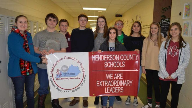 Henderson County High School's November students of the month are, front row from left: Krista Parker.Back Row: Maddie Barrett, Matthew Turner, Reid Reusch, Jack Rideout, Josie Rideout, Ian Young, Ellie Kellen, Ashton Rideout and Cayce Chaykowsky. Not pictured: Reagan Ransom and McKenzie Talley