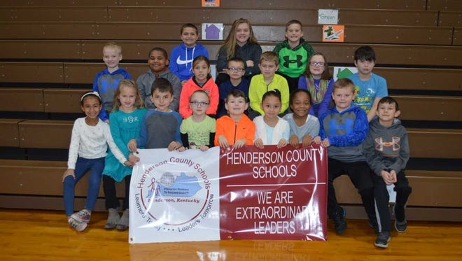 A. B. Chandler's December leaders of the month are, front row from left: Emarie Bradford, Braelyn Gish, Javier Valdez, Baylie Hoge, Oakley Walters, Aliyah Guevara, Avery Hampton, Austin O'Nan and Shane Mattingly. 2nd row: Dane Phillips, Aiden Martin, Maddie Sutton, Ethan Durham, Rylan Trigg, Ella Hall and Levi Conductor. Back row: Izack Morales, Allie Skaggs and Andrew O'Nan. Absent for Photo:  Gabe McLean