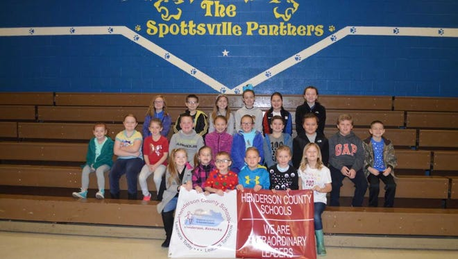 Spottsville Elementary's January leaders of the month are, front row from left: Sophia Duncan, Isabelle Major, Holden Rideout, Seth Boggess, Tevy-Mae David and Addilynn Leslie. 2nd row: Myla Peck, Sarina Meserve, Ellie Mae Middleton, Walker Nelson, Hadley Eblen, Sophie Joyce, Max Mays, Austin Stone, Lane Johnson and Brayden Rideout. Back row: Payton Brown, Brayden Bradley, Jordan Mrdalj, Kanna Romain, Gabriella Major and Annabel Whitledge. Penelope Hodes and Chloe Liley were absent for photo.