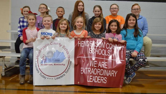 Niagara Elementary's January leaders of the month are, front row from left: Lilly Gentry, Dax Davis, Tyler Sugg, Makayla DeTalente, Hannah Duckworth, Jessica Miller and Jaley Shouse. Back row: Lilly Shelton, Grace Dodson, Elijah Jackson, Sophie Pressley, Rayna Garza, Lilly Hurst and Tolbert Estes. Brody Matthews was absent for photo.