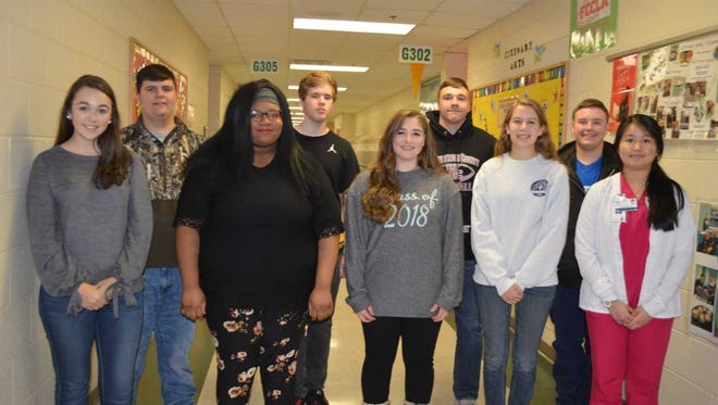 HCHS CTE's students of the second quarter are, front row from left: Morgan Lewis, Shy'Rissa McGurie, Rachael Berberich, Erin O'Nan and Sovanroth Hean. Back row: Jacob Vaughn, Andrew Walton, Will Steiner and Dalton Hinkle. Ashton Wilson, Brooklynn Frederick, Isaac Ellis, Austin Duncan and Autumn Billings were absent for photo.