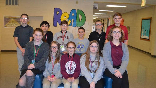 North Middle School's December students of the month are, front row from left: Madelyn Bennett, Amber Beno, Isabella Payne, Bethanie Callen and Bella Shelton. Back row: John Boeglin, Sena Holler, Clayton McHatton, Jayden Steen, AJ Roy and Tommy Domsic. Brennan Marsh was absent for photo.