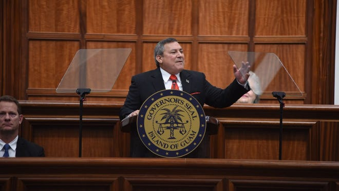 Gov. Eddie Calvo on Feb. 13 gives his State of the Island Address at the Guam Congress Building.
