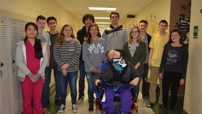 Henderson County High School's March students of the month are, front row from left: Po Hean, Ashby Greenwell, Maggie Sauer, Scott Moseley, Lilianna Welch and Sierra Evans. Back row: Jordan Rideout, Eli Linzy, Andre Cruze, Alec Agnew, Braxton McGrew and Hunter Robards.