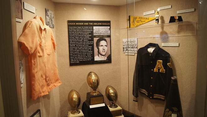 A new exhibit at the Texas Sports Hall of Fame spotlights former Abilene High School coach Chuck Moser, who led the Eagles to three consecutive state titles in football.