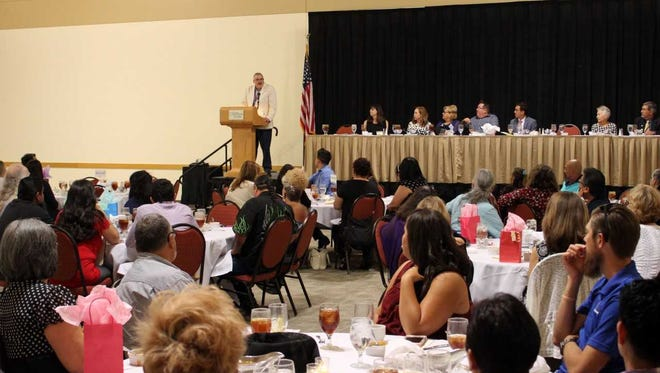 LCPS Superintendent Greg Ewing thanks a crowd of retired, and soon-to-be retired, LCPS employees for their service to the school district at the annual LCPS Retirement Recognition Reception, Wednesday, May 9.