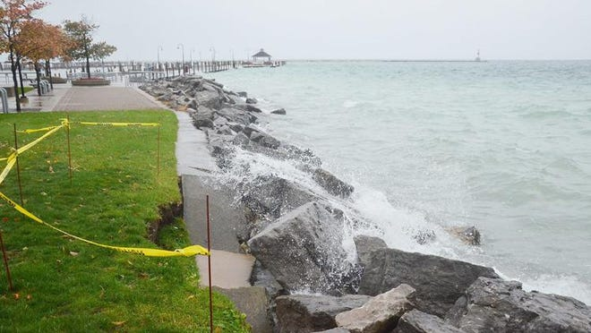 This image, from Petoskey's Bayfront Park last October, shows some of the erosion problems area communities were beginning to address when they requested a state of emergency be declared. Such requests were never fulfilled, but a new bill from Congress might open up some federal loans for such areas.