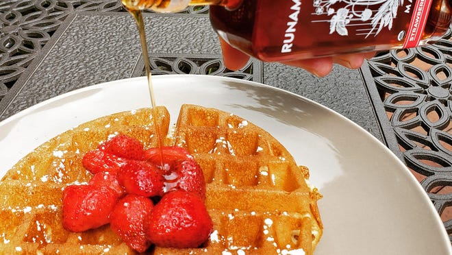 Runamok Strawberry Rose Infused Maple Syrup isn't just perfect for waffles. You can use it to make a gin cocktail.