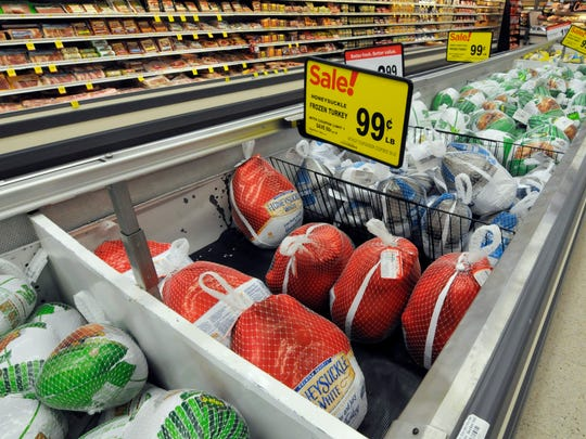 Thanksgiving turkeys are shown at a Cub Foods store in Bloomington, Minn., Nov. 5.