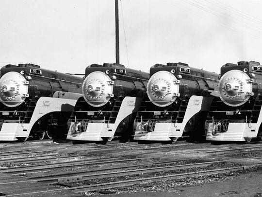 Four of the six new stream line locomotives that will operate between Los Angeles and San Francisco, in Los Angeles, Ca., Feb. 7, 1937. They have a top speed of 90 miles per hour. (AP Photo)