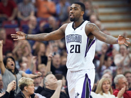 Sacramento Kings forward Donte Greene celebrates after hitting a 3-point shot in a 2012 game against the  Minnesota Timberwolves. Greene played for Boeheim's Army, but will not be suiting up for the squad in The Basketball Tournament this summer.