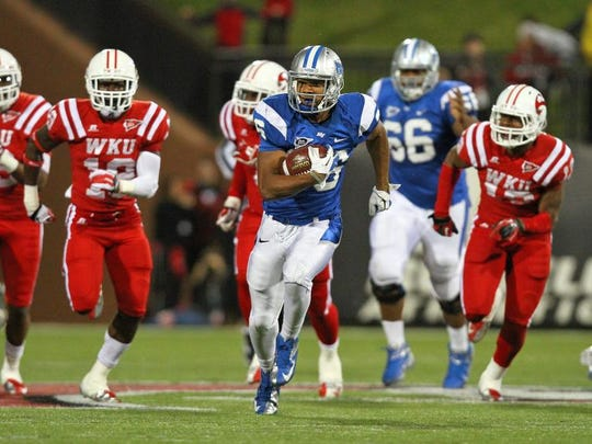 MTSU running back Jordan Parker has rushed for about 800 yards per season despite starting only half the games. Parker and other Blue Raider runners could threaten the 1,000-yard mark this season.