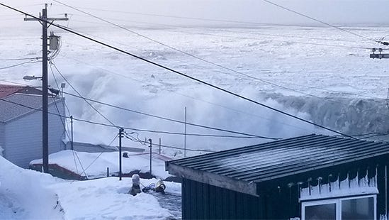 A lack of shorefast ice on Little Diomede Island left the community with no protection from battering waves and ice debris during a winter storm on Feb. 20, 2018.