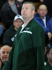 Former St. Joseph High School head basketball coach David Turco on the sidelines during a 2015 game.