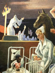 The controversial part of a Thomas Hart Benton mural
