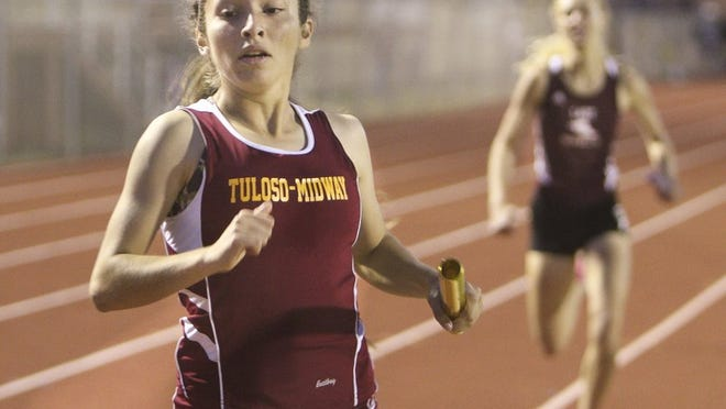 GEORGE TULEY/SPECIAL TO THE CALLER-TIMES Jasmine Hernandez anchored the Tuloso-Midway girls to first in the 1,600-meter relay at the District 30-5A track meet at Alice High School in Alice, Friday April 15, 2016.