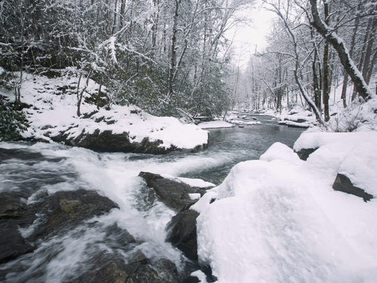 The Middle Prong of the Little River rushes past snow-covered