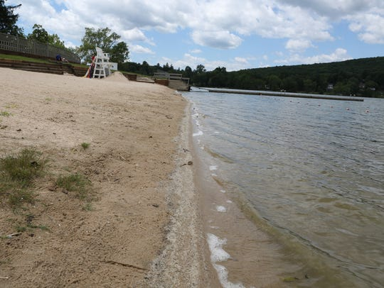A view of the beach and water at Beach 3 at Lake Carmel