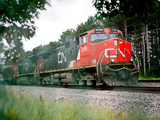 Canadian National Railroad trains blocking crossing