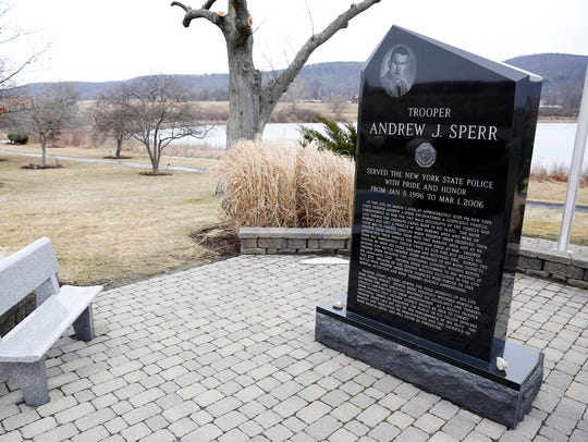 A monument honoring Trooper Andrew Sperr and his legacy